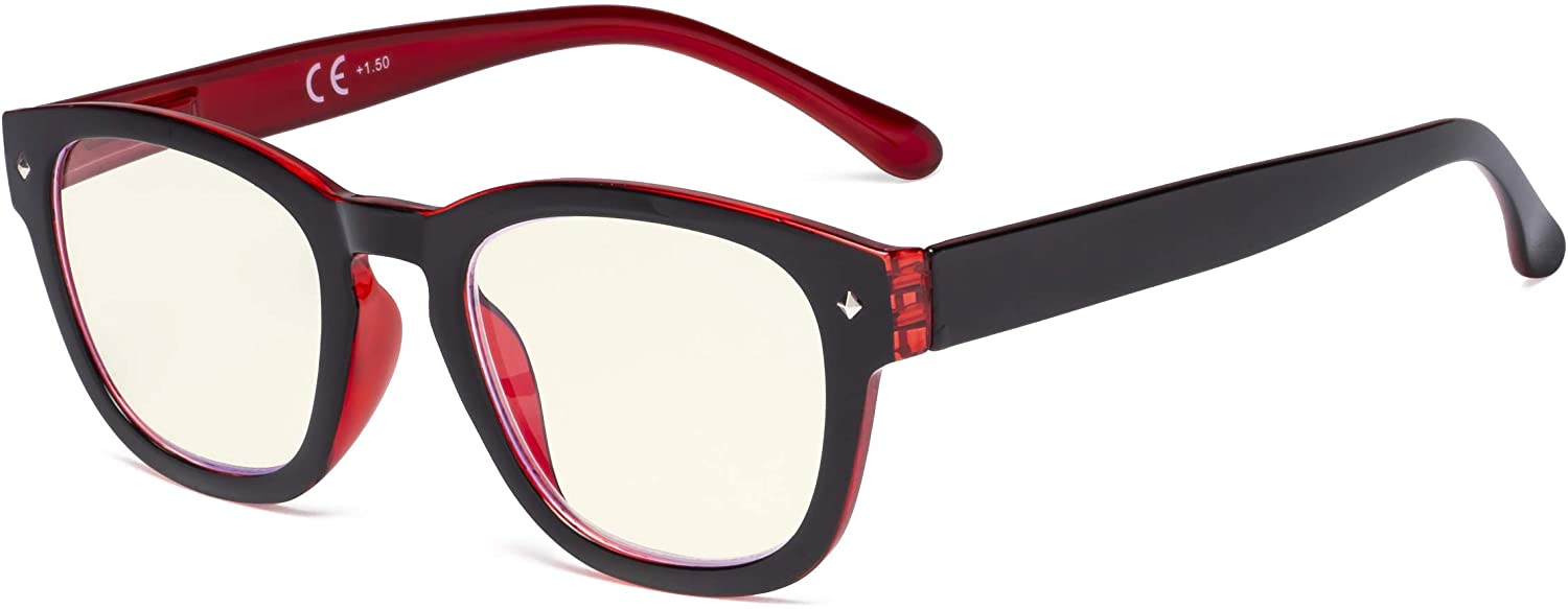 Eyekepper Blue Light Filter Reading Glasses - UV420 Protection Computer Reader Eyeglasses - Black-Red +1.50