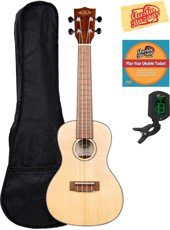 Kala KA-SSTU-C Concert Travel Ukulele Bundle with Gig Bag, Clip-On Tuner, Austin Bazaar Instructional DVD, and Polishing Cloth