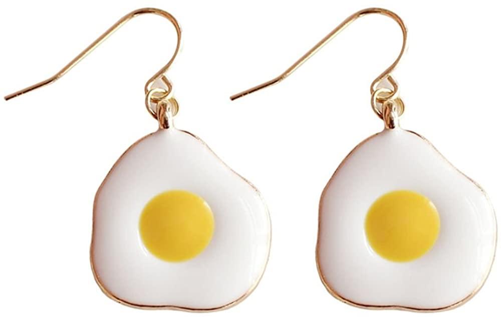 JUESJ Cartoon Glaze Food Fried Egg Stud Earrings for Woman Fun Fashion Jewelry