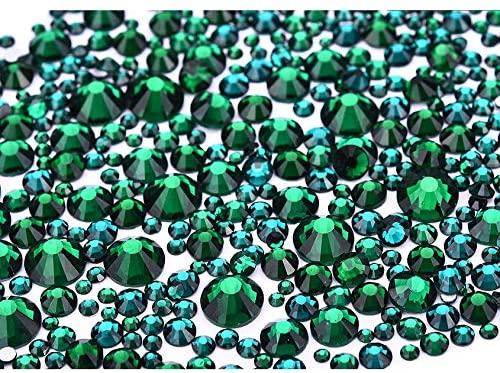 Jollin 3456pcs Flatback Rhinestones Glass Charms Diamantes Gems Stones for Nail Art 6 Size ss4~ss12 Dark Green