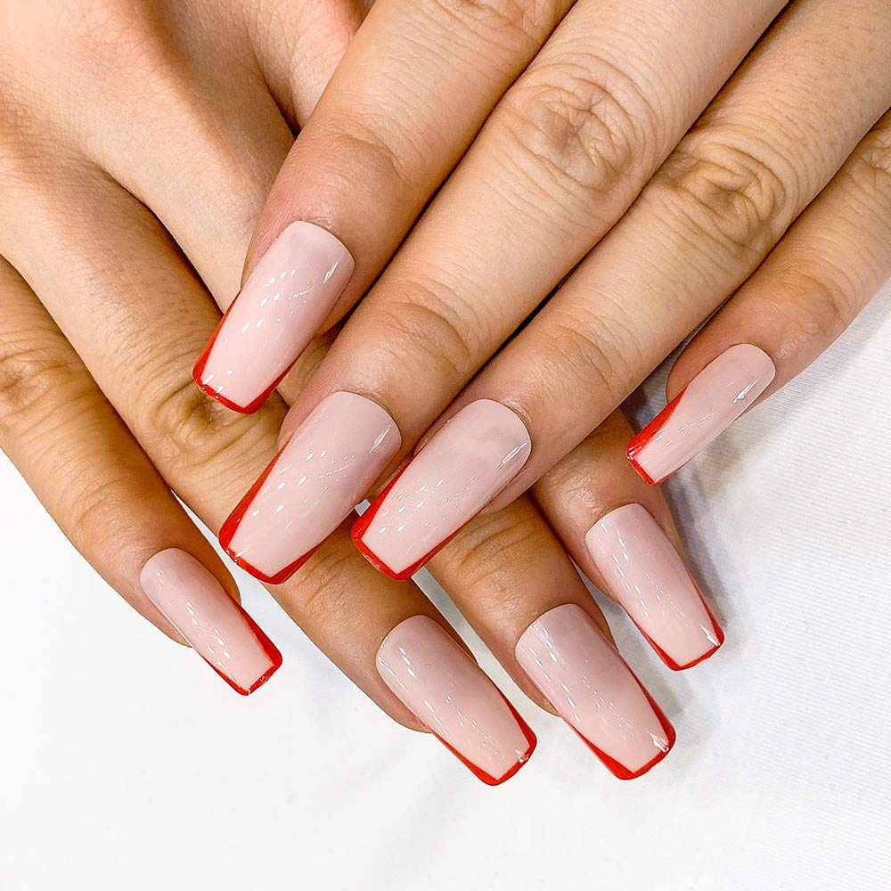 Artquee 24pcs French Nude Pink Red Edge Long Square Glossy Fake Nails Press on Nail False Tips Manicure for Women and Girl