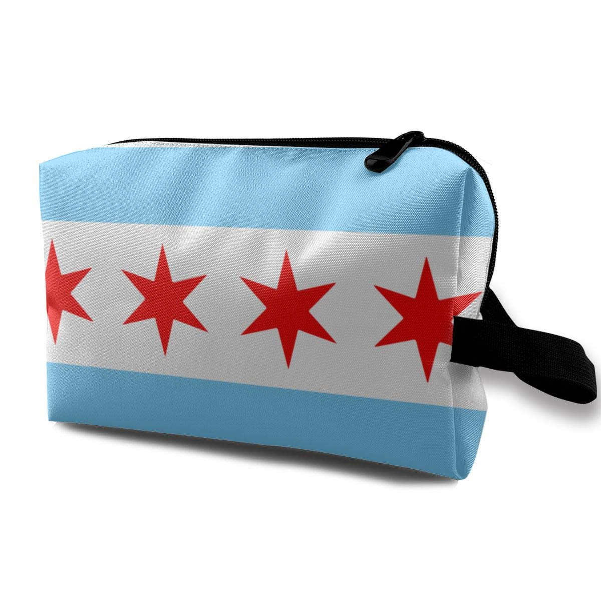 Travel Pouch Storage Bags Baskets Cosmetic Makeup Bag Chicago Stars Flag Blue White Stripes