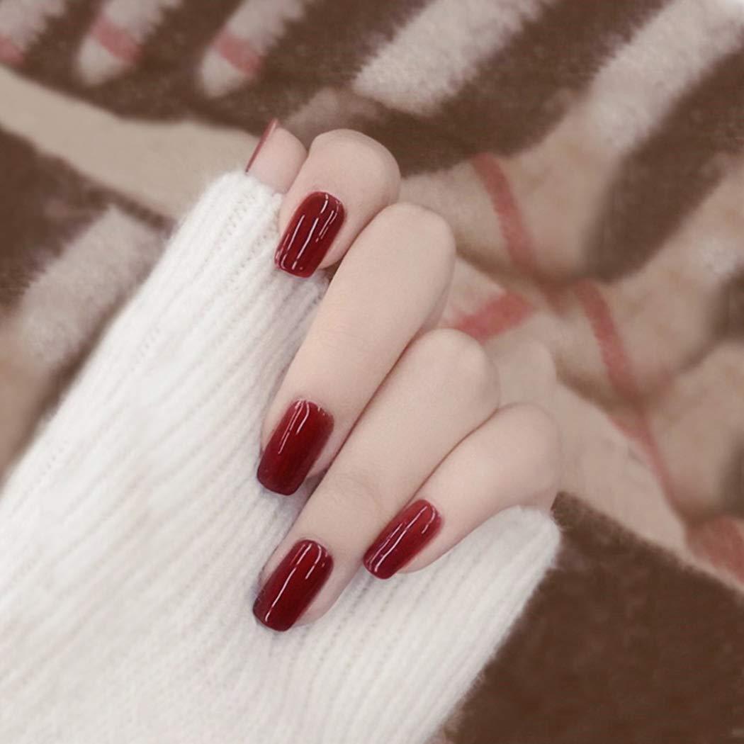 Vinzar Red False Nails Glossy Full Cover Medium Nails Fake Nail Square Acrylic Nail Tips Clip on Nail for Women and Girls(24Pcs)