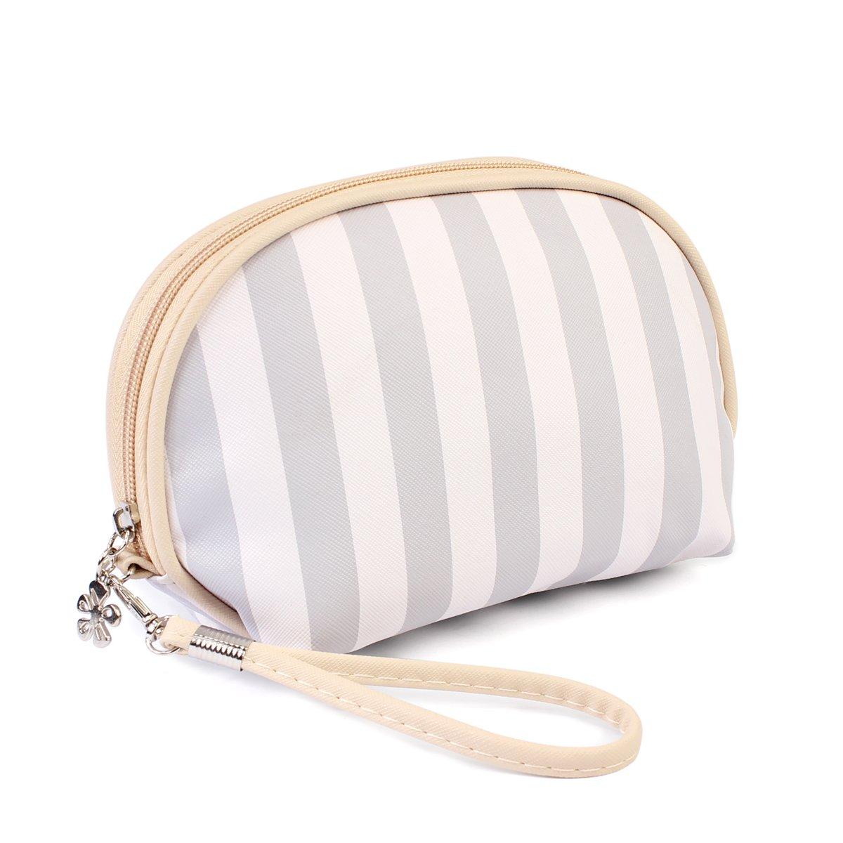 Multifunction Portable Travel Organizer - Cosmetic Makeup Pouch/Toiletry Purse/Jewelry Bag/Print School Pencil Case/Metallic Zip Clutch/Striped Wristlet (Round - Grey Stripe)