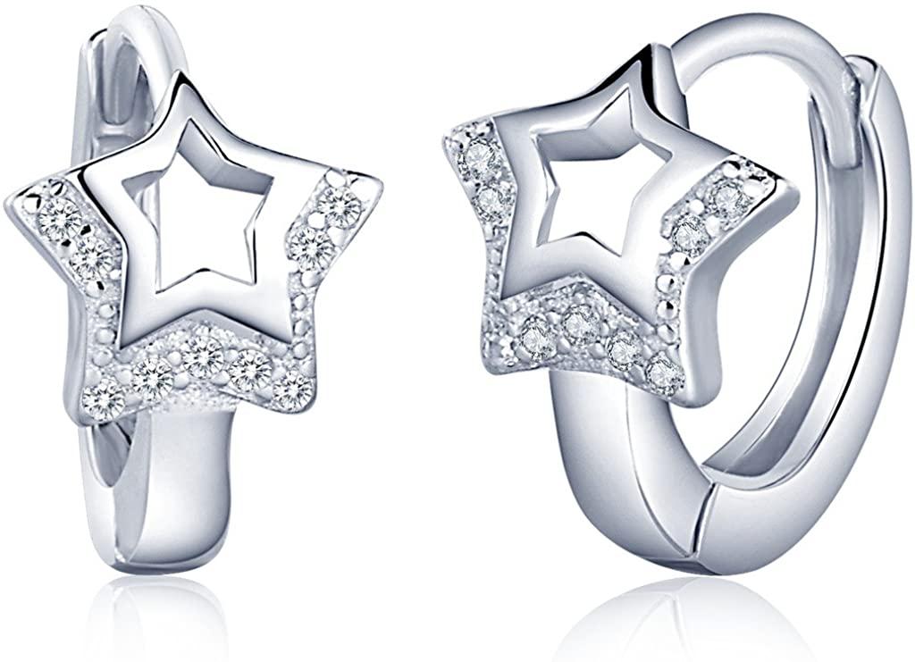 Infinite U Huggie Earrings 925 Sterling Silver Cubic Zirconia Small Hoop Star Heart Cartilage for Women