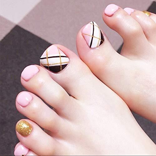 24PCS False Nail For Toe Pink-White Oblique Gold Line Press On Toenails Full Cover Fake Toenails Tips Artifical Toenails