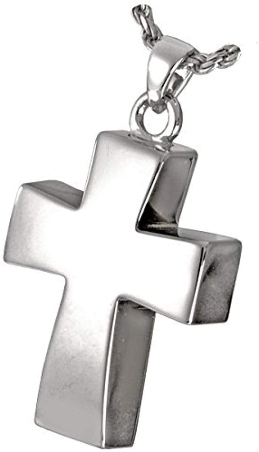 Memorial Gallery MG-3816gp Vaulted Cross 14K Gold/Sterling Silver Plating Cremation Pet Jewelry
