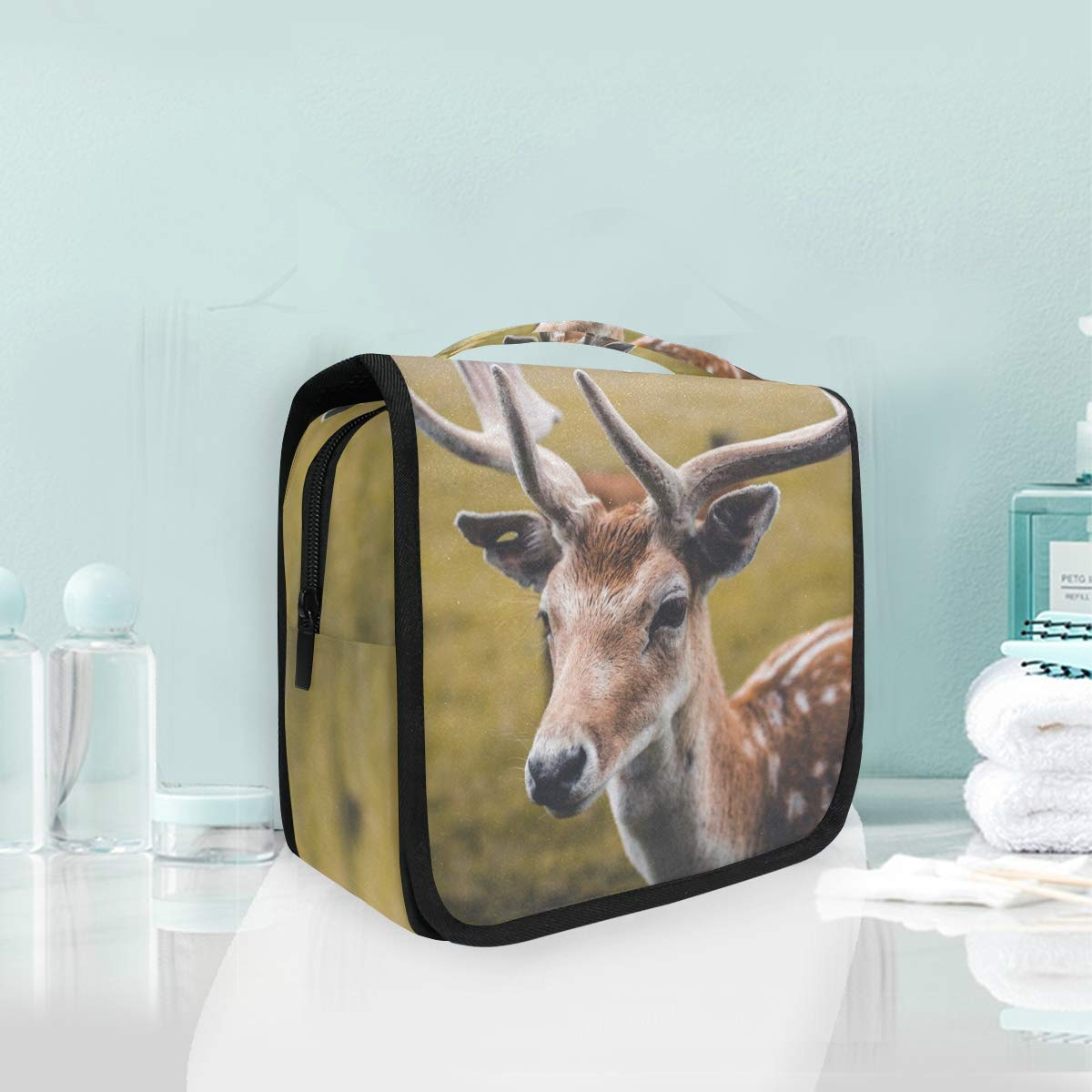 Travel Toiletry Cosmetic Bag Cute Deer Animal Hanging Shower Makeup Bag Pouch Portable Train Tote Case Organizer Storage For Women Girls