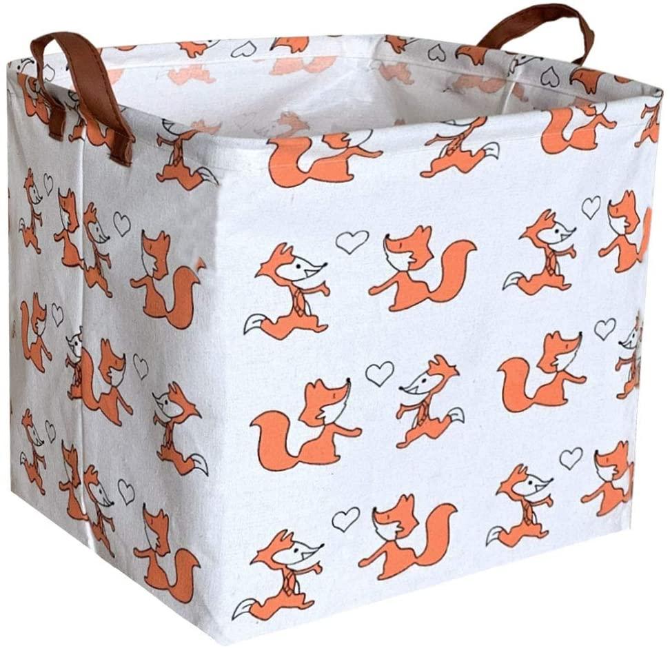 Sanjiaofen Square Storage bin, Laundry Basket,Collapsible Storage Box with Handles for Nursery Storage.(Love Fox) …