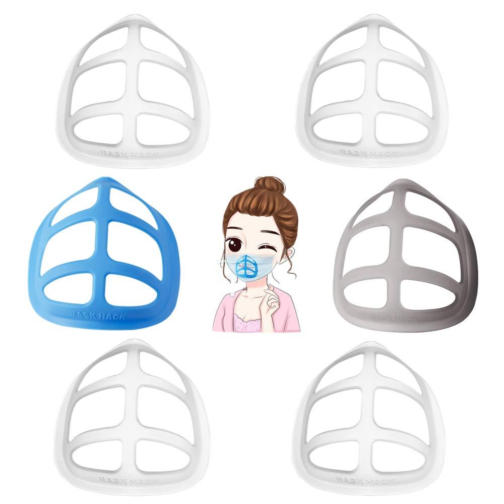 3D Mask Bracket,Silicone Bracket,Internal Support Holder Frame,cool exercise respirator reusable,Nose pad lipstick,Transparent, color,prevent stuffiness and skin discomfort (4 white 1 black 1 navy)