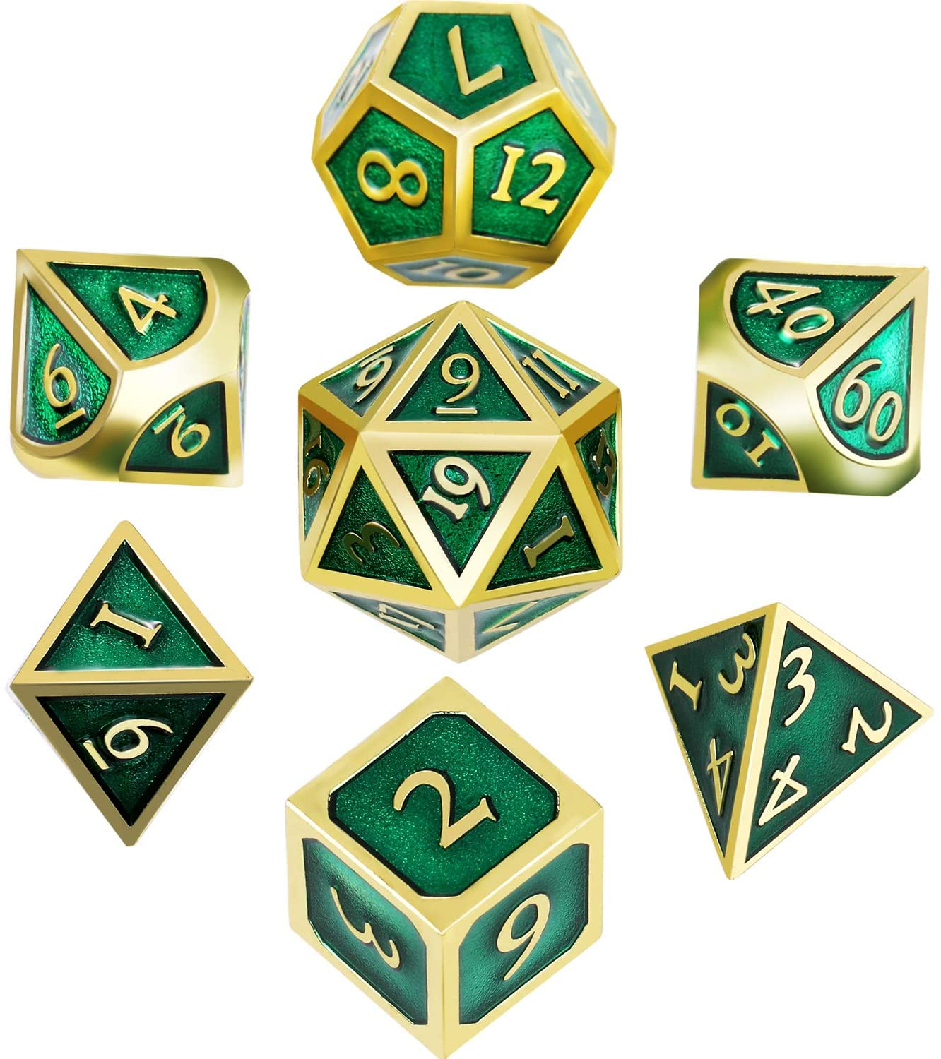 Hestya 7 Pieces Metal Dices Set DND Game Polyhedral Solid Metal D&D Dice Set with Storage Bag and Zinc Alloy with Enamel for Role Playing Game Dungeons and Dragons, Math Teaching (Gold Edge Green)