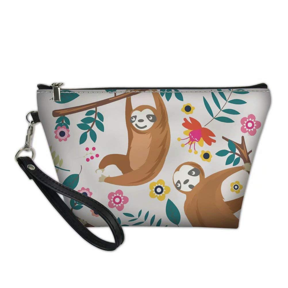 Dellukee Portable Travel Cosmetic Organizer for Women Sloth Print Roomy Zipper Closure Toiletry Pouch Travel Makeup Bag Purse