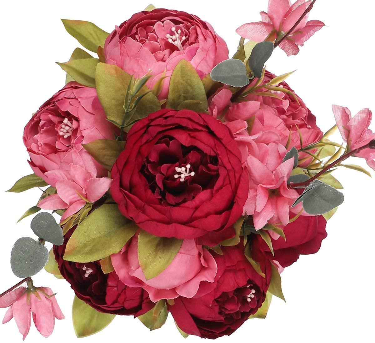 Floralsecret Artificial Silk Peony Flower Vintage Fake Bouquet Home Wedding Decor(New Dark Red)