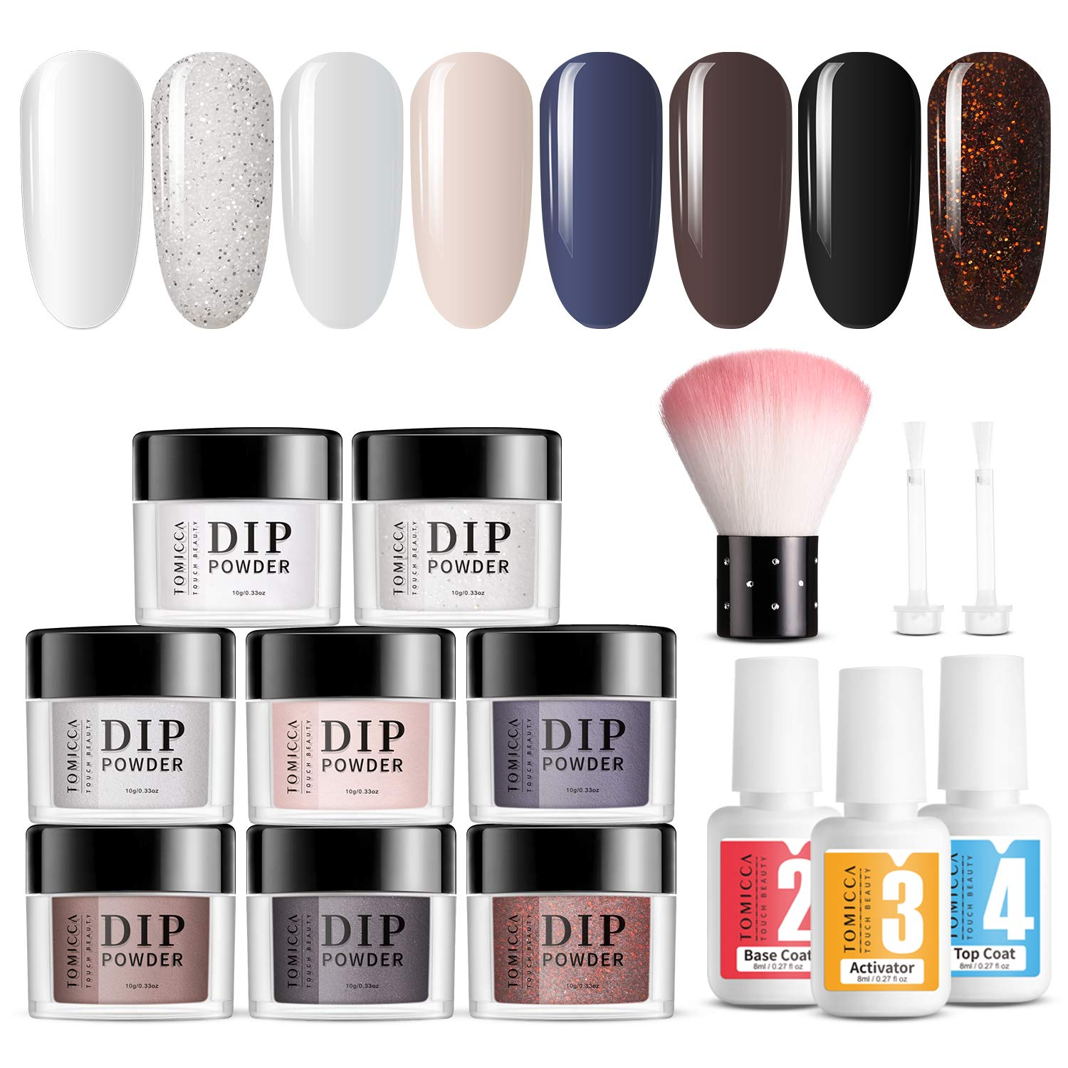 TOMICCA Dip Powder Nail Starter Kit 8 Colors for French Manicure Nail Art Set White Black Dark Blue Dipping Powder System Starter Essential Kit, 3Pcs 8ML Liquid, No UV Lamp Required, Easy to Apply