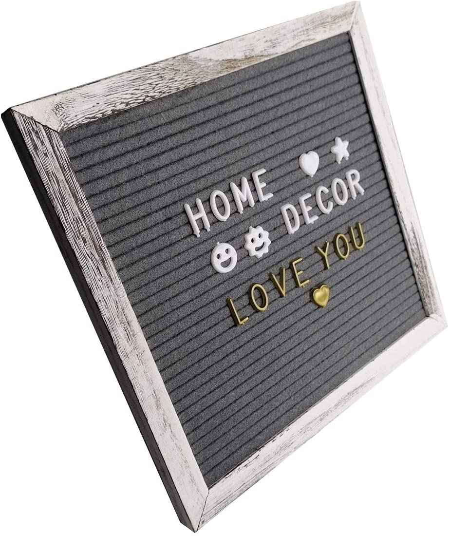 Rustic Baby Announcement Changeable Felt Message Letter Boards with White Gold Letters Symbols with Stand,Changeable Sign Letter Board 10x10 Inche