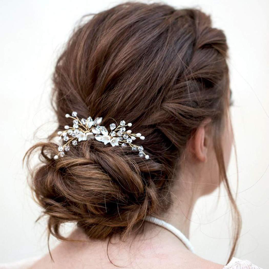 Artio Bride Wedding Flower Hair Pins Bridal Hair Accessories Hair Piece for Women and Girls 2 PCS HP051 (Gold)