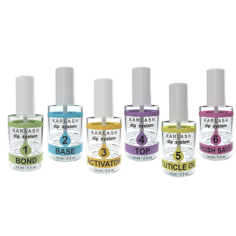 Karlash Gel dipping powder (set of 6) Gel Base, Gel Top, Bond, Activator, Brush Saver, Cuticle Oil