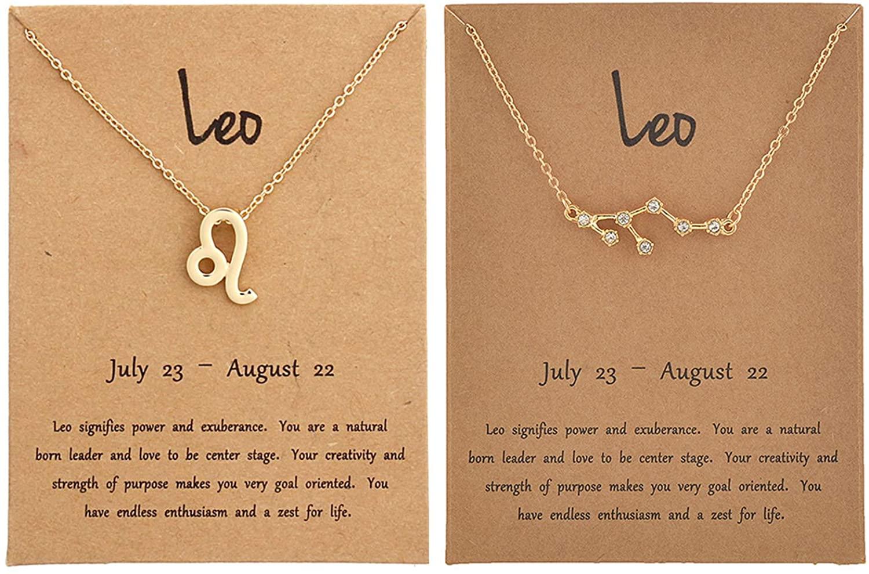 2Pcs Zodiac Sign Necklace for Women 12 Constellation Necklace CZ Astrology Zodiac Gift for Women
