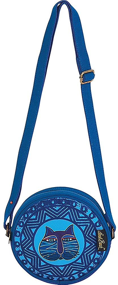 Laurel Burch Stamped Feline Round Crossbody Bag (Blue)