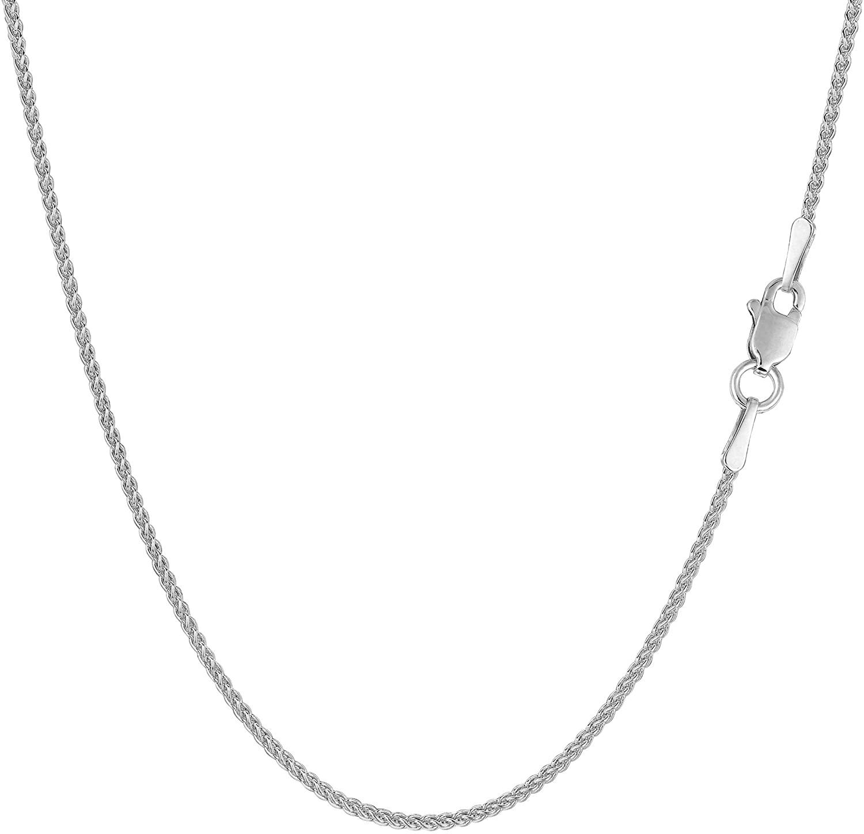 14k White Gold Round Wheat Chain Necklace, 1.2mm