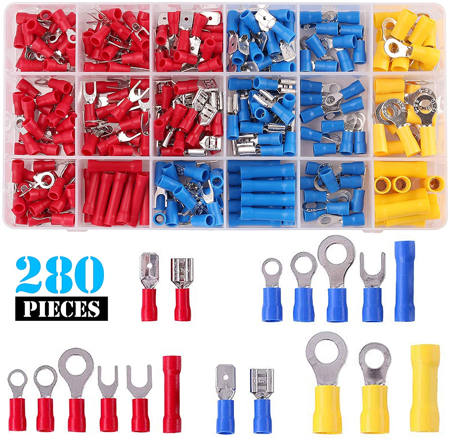 Kinstecks 280PCS Electrical Wire Connectors Insulated Wire Crimp Terminals Ring Fork Spade Butt Connector Set Mixed Assortment Kit for Automotive Car Motorcycle Boats Electric Instruments