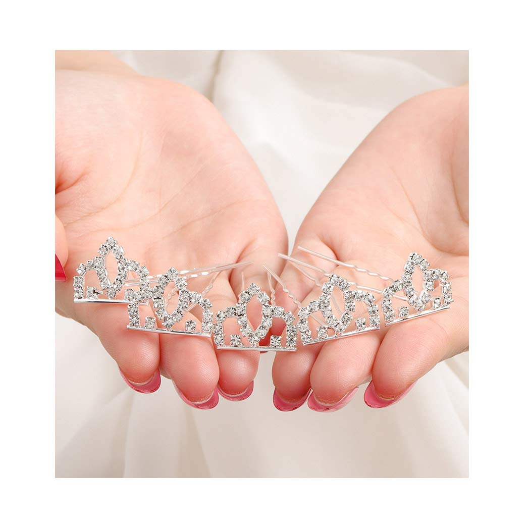 Campsis Rhinestone Bride Hair Pins Silver U Shape Bridal Hairpin Mini Crown Tiara Hair Clips Flower Girl Hair Accessories with Birthday Prom Party 5 Pcs