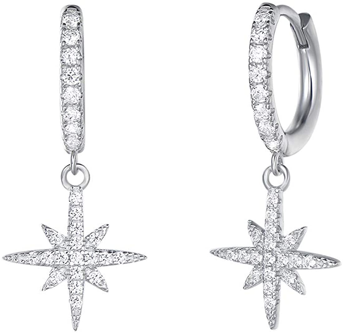 Carleen White Gold Plated 925 Sterling Silver CZ Cubic Zirconia Simulated Diamond Feather/Evil Eye/Turtle/Sunflower Daisy/Star Burst Dangle Drop Small Hoop Earrings For Women Girls, Height 1 INCH