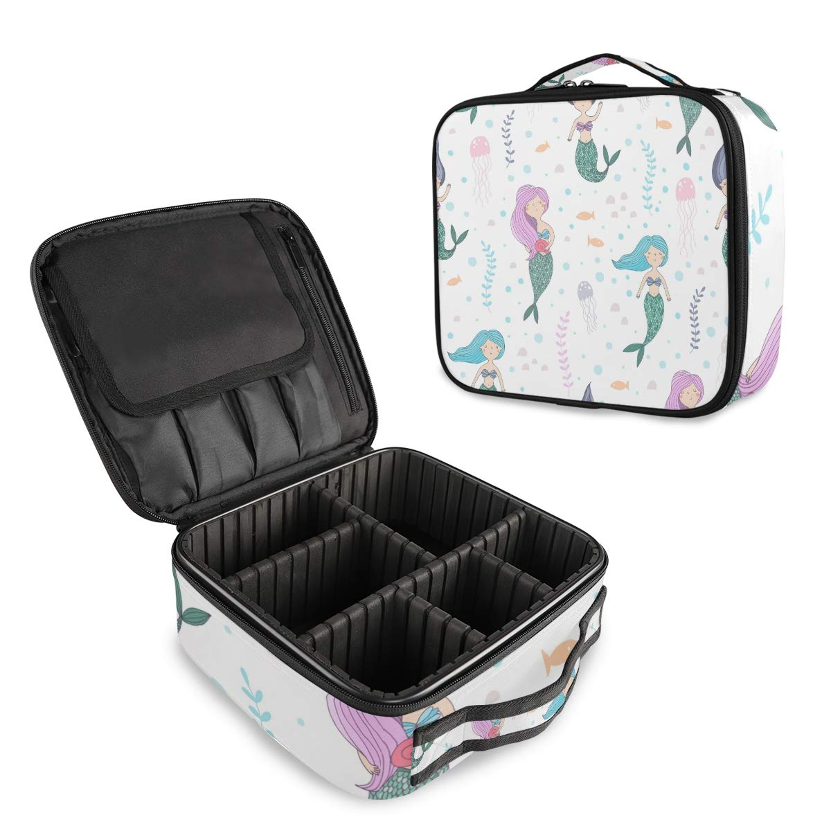 ALAZA Coral Reef Pubble Mermaid Fish Makeup Cosmetic Case Organizer Portable Storage Bag Travel Makeup Train Case with Adjustable Dividers