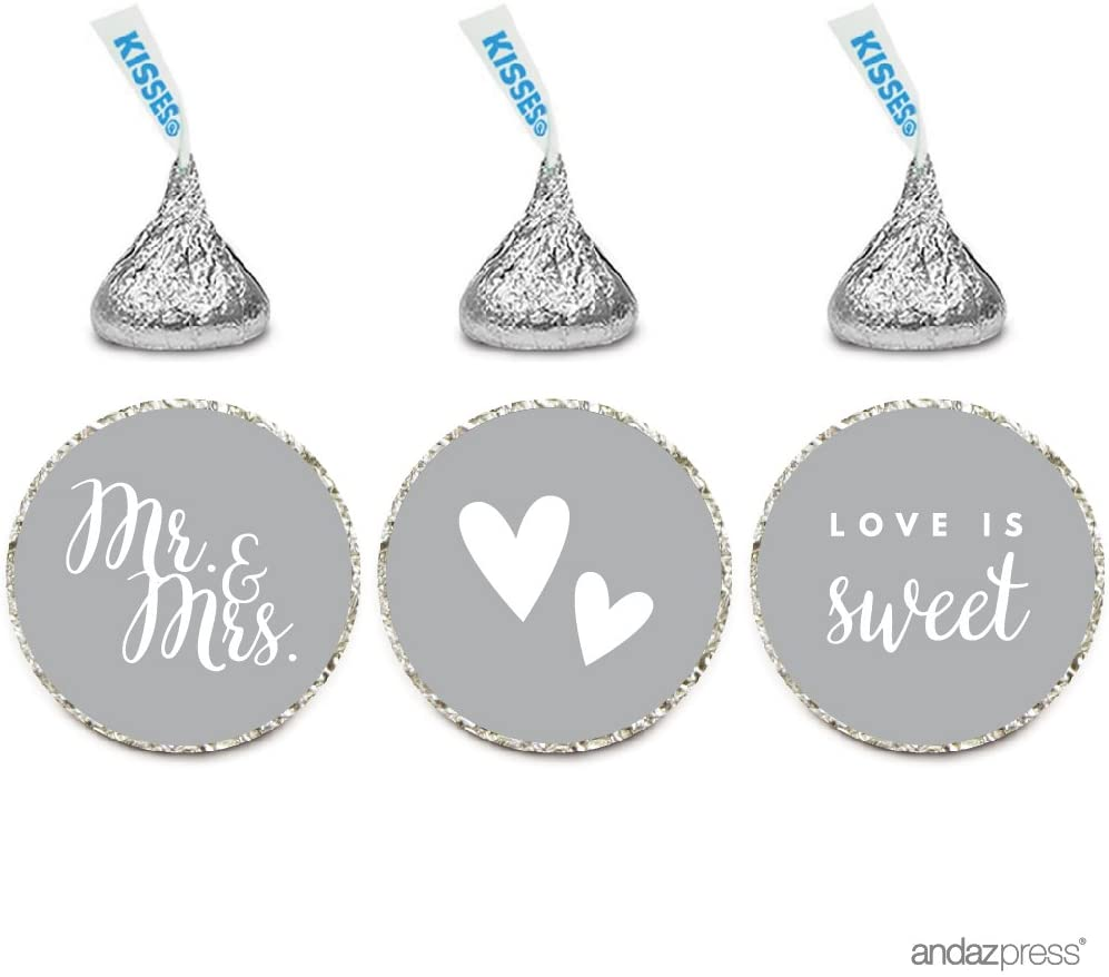 Andaz Press Chocolate Drop Labels Trio, Fits Hershey's Kisses, Wedding Mr. & Mrs, Gray, 216-Pack, for Bridal Shower, Engagement Party Favors, Gifts, Bags, Stationery, Envelopes, Decor, Decorations