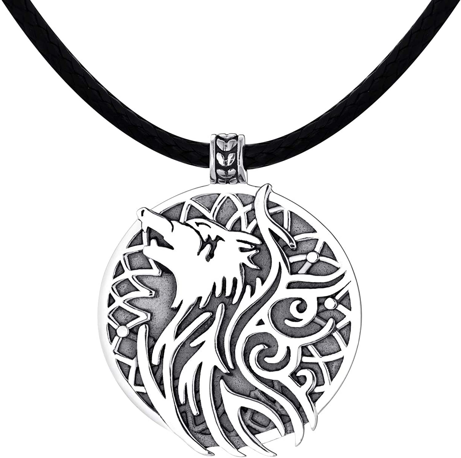 YL Wolf Necklace 925 Sterling Silver Origami Pendant 18k Gold/Rose/Black Plated Round Circle Jewelry for Women