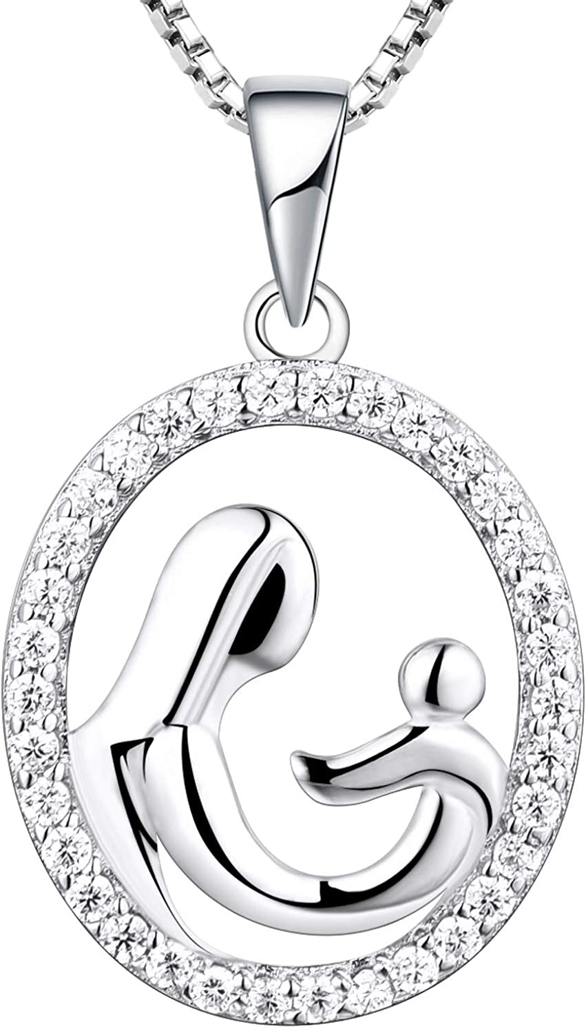 YL Mother and Daughter Necklace Sterling Silver Mum Hold Child Love Heart Pendant Cubic Zirconia Jewelry Gifts for Moms