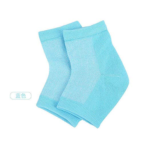 STÙNICK Moisturizing Heel Socks (Blue) 2 Pairs Gel Lined Skin Softening Footcare Treatment for Dry, Hard or Cracked Heels - Toeless Day Night Spa Socks for Men and Women
