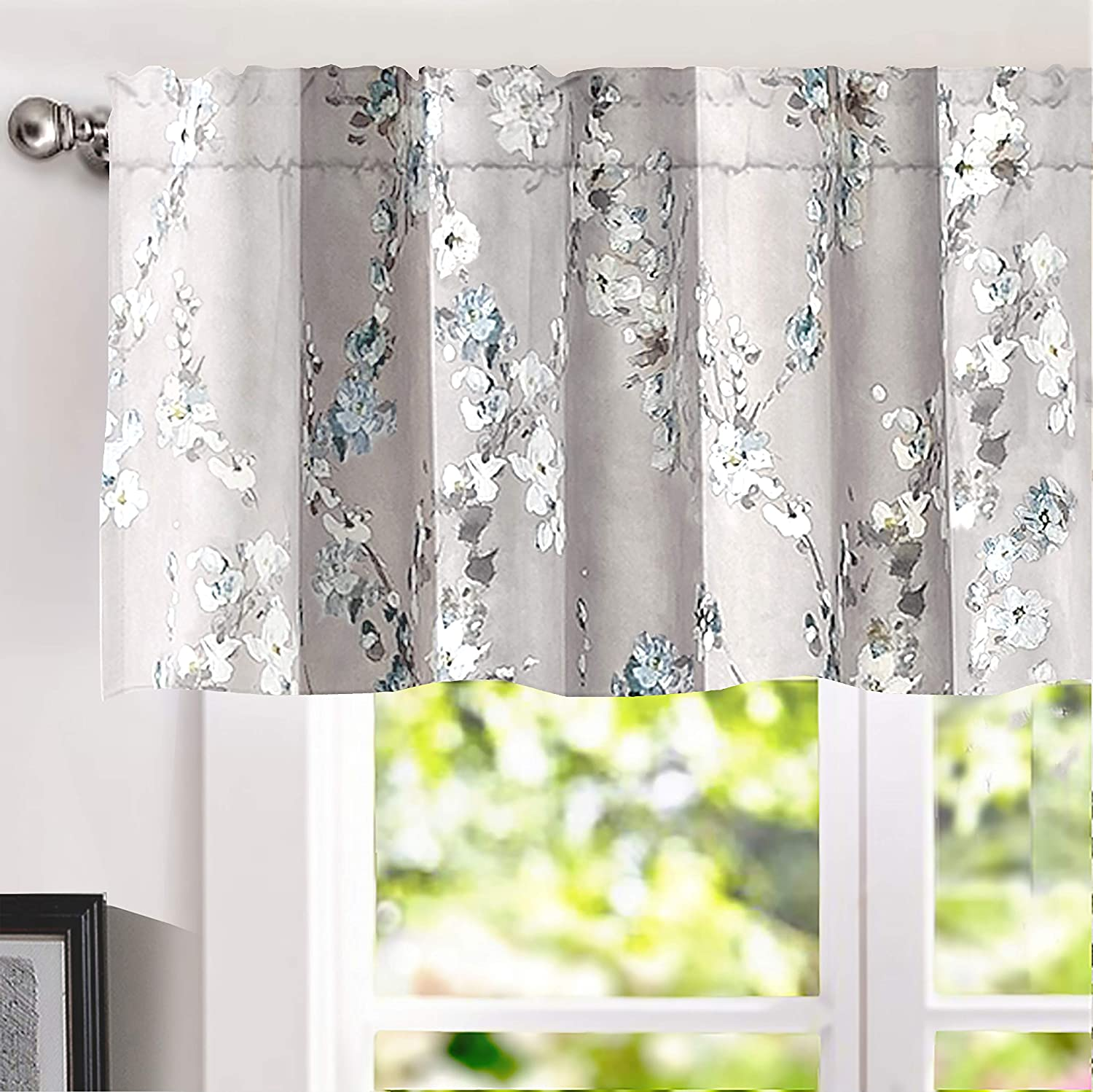 DriftAway Mackenzie Abstract Floral Pattern Window Treatment Valance Rod Pocket 50 Inch by 18 Inch Plus 2 Inch Header Blue Gray