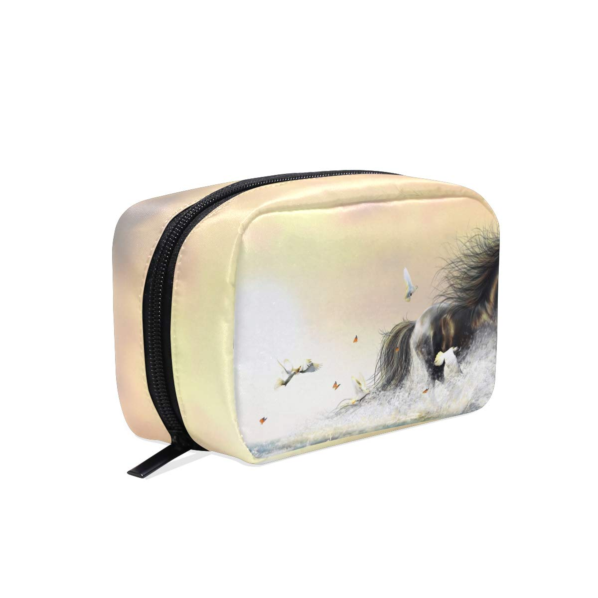 Waterfall Horse Dove Butterfly Travel Cosmetic Bags Makeup Storage Pouch Toiletry Bag Case Brushes Organizer for Women Girl with Zipper