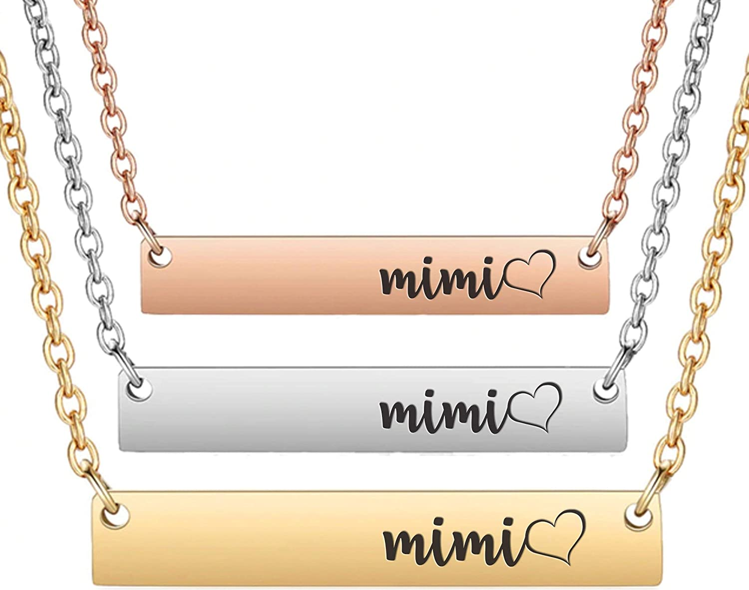 Mimi with Heart - Minimalist Horizontal Bar Necklace Gift | Rose Gold Pendant Necklaces | Silver Engraved Jewelry Gifts for Mom | Birthday Ideas Women Wife Grandma Grandmother Grams