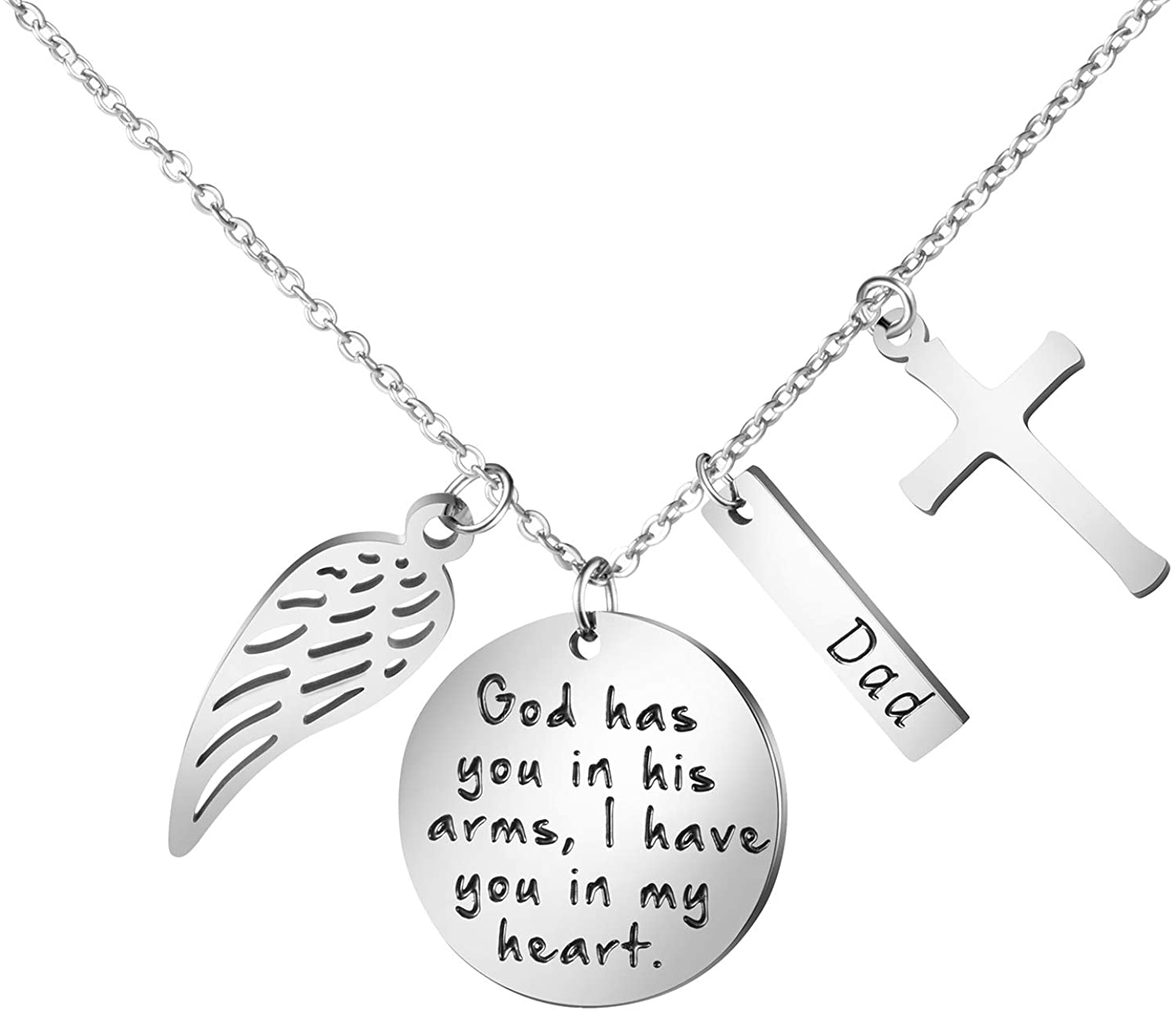 Joycuff Personalized Memorial Necklace Sympathy Gifts for Women Teen Girls Loss of Loved One Remembrance Jewelry Angel Wings Cross Charm Silver Stainless Steel Pendant