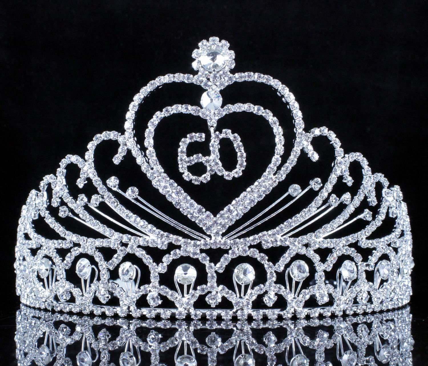 Number 60 Sixty Years Old 60th Birthday Party Clear White Austrian Crystal Rhinestone Tiara Crown Hair Combs Headpiece Queen Princess T807 Silver