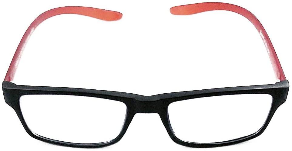 Forever Men's Blue Block Reading Computer/Glasses (Black/Red, 3.00)