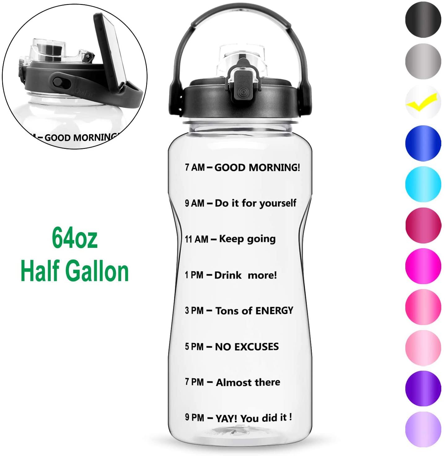 BuildLife Motivational Half Gallon Water Bottle - 64 OZ, Time Market & Flip Lid,BPA Free Leak-Proof Reusable Fitness Outdoor Sports Gym