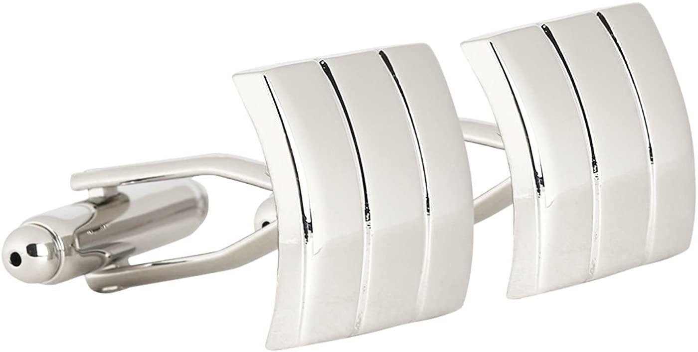 Peluche Silver Brass Rectangle Solid Appeal Cufflinks for Men