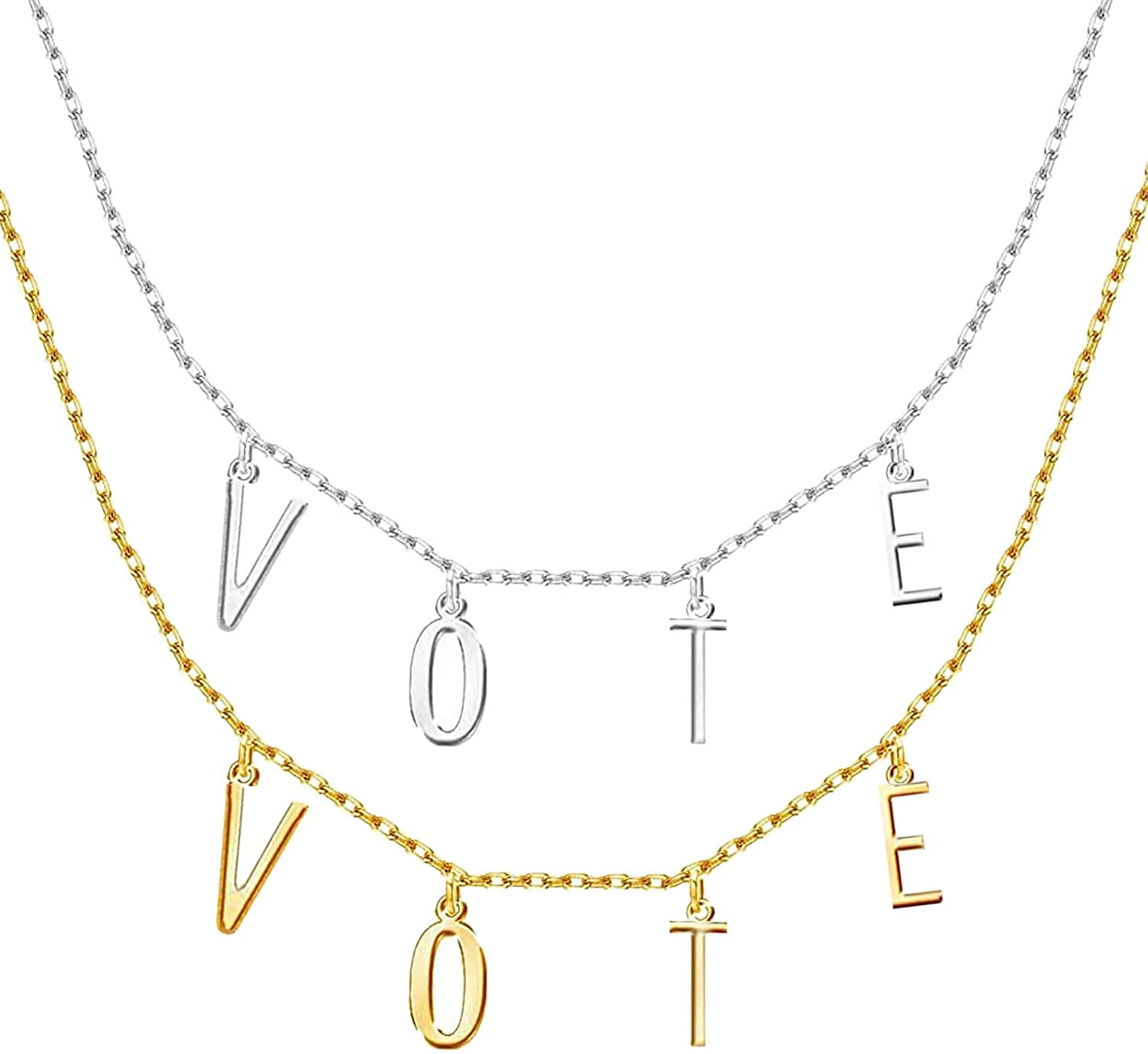 PANTIDE 2Pcs Michelle Obama Vote Necklace Pendant, Personalized Initial Name Necklace, Custom Spaced Letter Choker Jewelry for Women and Teen Girls (Gold, Silver)