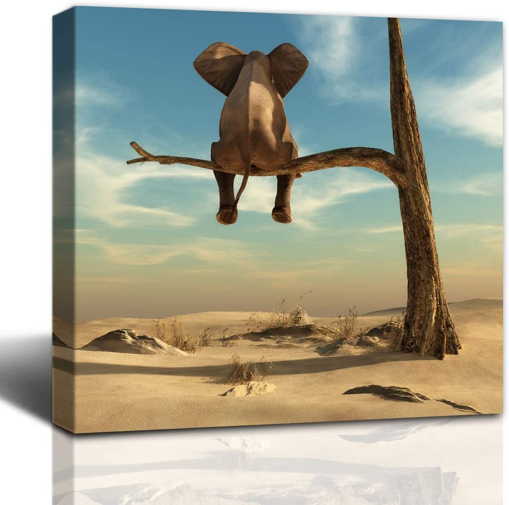Gardenia Art Elephant Stands on Thin Branch of Withered Tree Anime Painting Bathroom Accessories Wall Art Home Decor for Bedroom Living Room Framed 12x12 in 1 PCS
