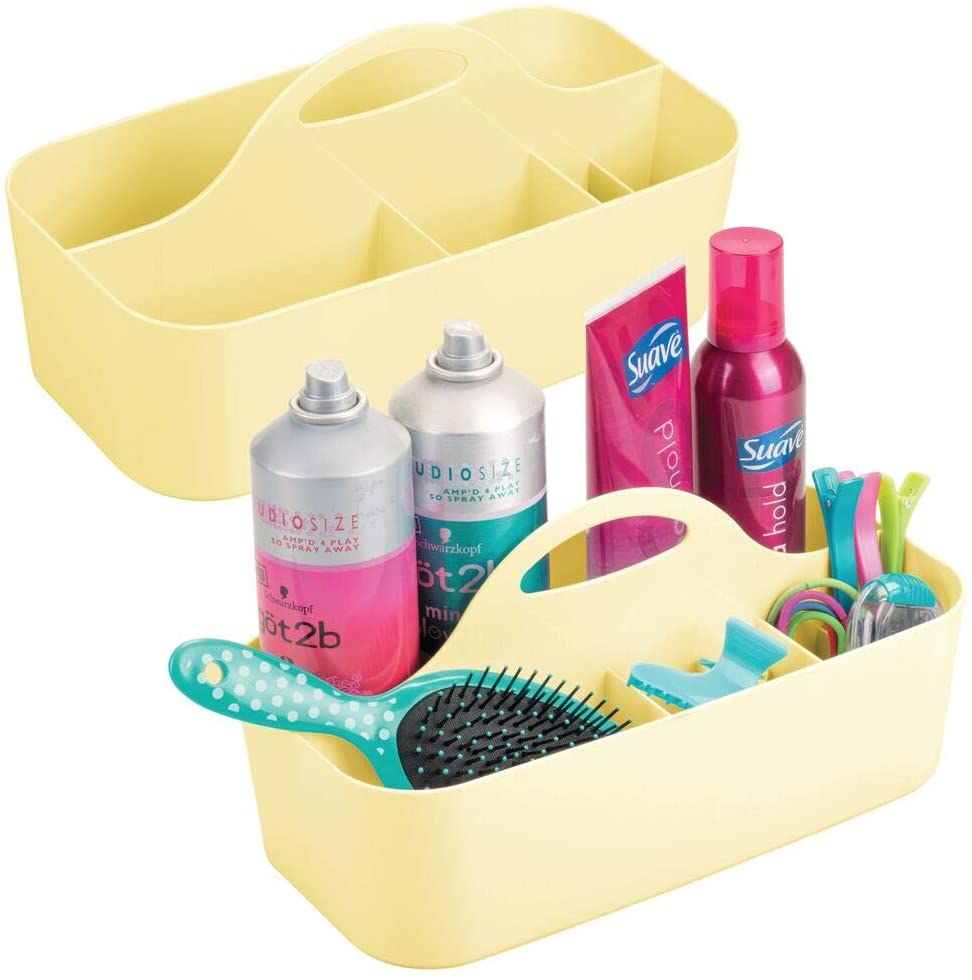 mDesign Plastic Portable Storage Organizer Caddy Tote - Divided Basket Bin with Handle for Bathroom, Dorm Room - Holds Hand Soap, Body Wash, Shampoo, Conditioner, Lotion - 2 Pack - Light Yellow