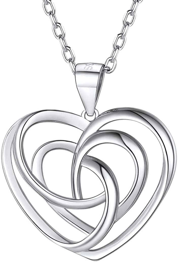 Silvora Sterling Silver Irish Celtic Knot Necklace, Vintage Triquetra Trinity Triangle Pendant Necklaces for Women, Girls Birthday Gift with 18 Inch Chain
