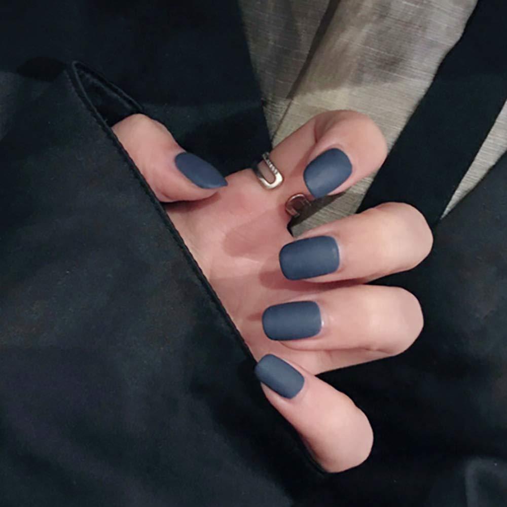 Morily 24pcs Fake Nails Dark Blue Matte Pastel Short Square Press on Nail False Tips Artificial Finger Manicure for Women and Girls