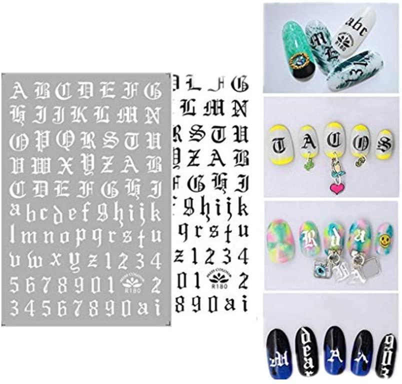 Sanyyanlsy Portable Ultra Thin Gummed Black White Gold Silver Nail Art Supplies Nail Sticker Adhesive Letters