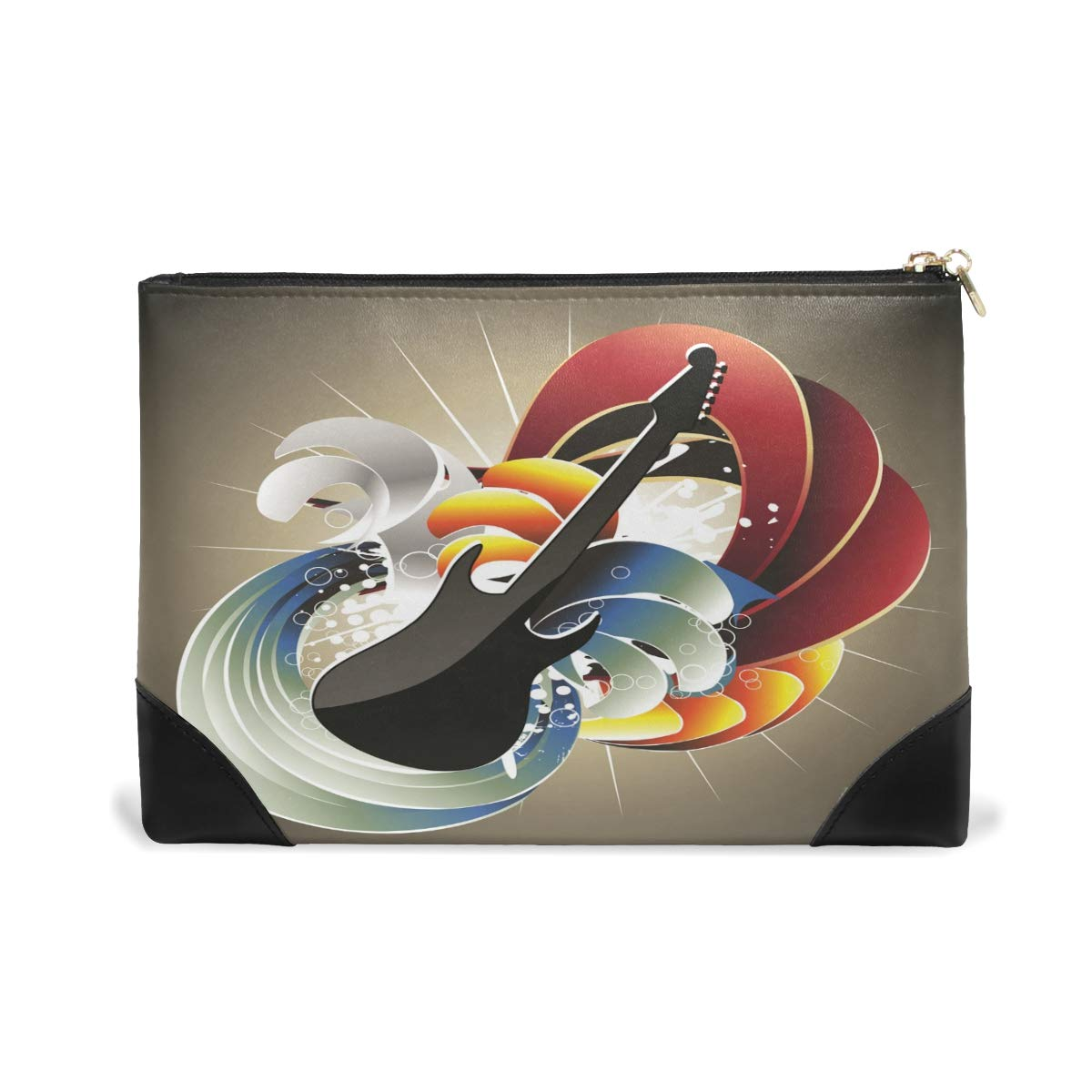 Women Makeup Bag Cool Guitar Genuine Leather Zipper Cosmetics Pouch Lady Toiletry Bag
