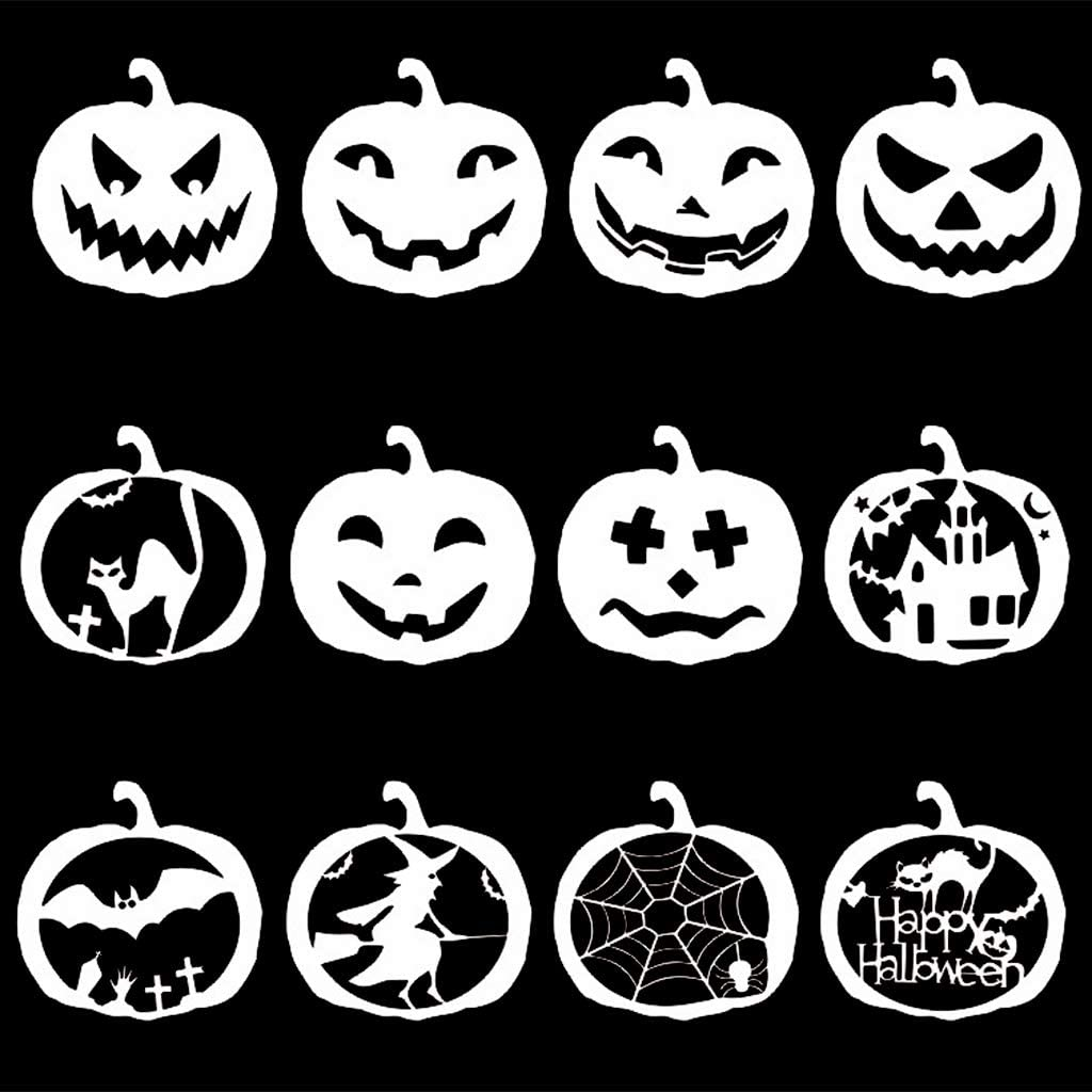 minansostey 12 Pieces Halloween Pumpkin Stencil Set Plastic Drawing Templates