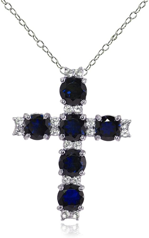 Lovve Sterling Silver Gemstone and White Topaz Cross Necklace