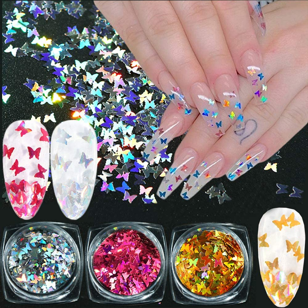 Nail Art Butterfly, 3D Nail Art Flakes Butterfly Glitter Nail Sequins Nail Art Decoration Butterfly Confetti for Nails Nail Art Design Makeup DIY Decoration(3 Bottles)